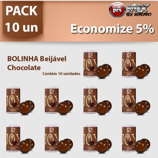 Pack 10 Bolinhas Beijavel Chocolate - Sexshop Atacado