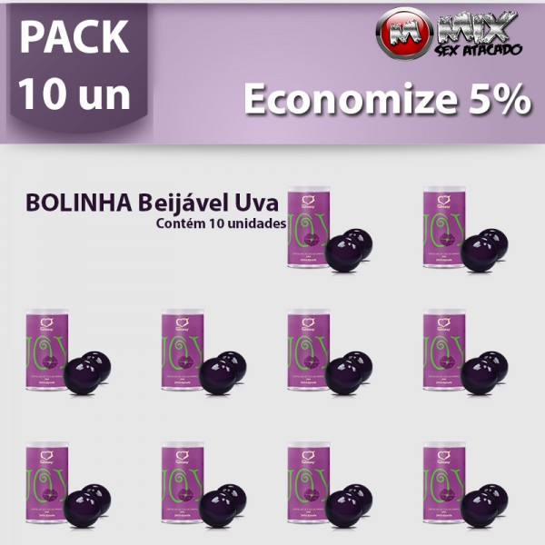 Pack 10 Bolinhas Beijavel Uva - Sexshop Atacado