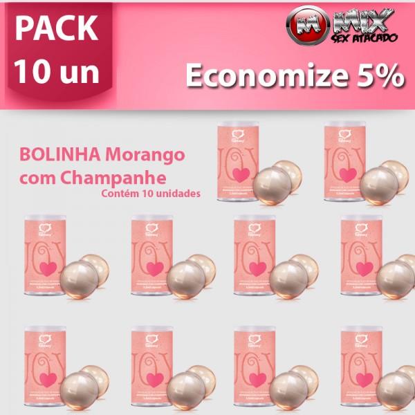 Pack 10 Bolinhas Morango com Champagne - Sexshop Atacado
