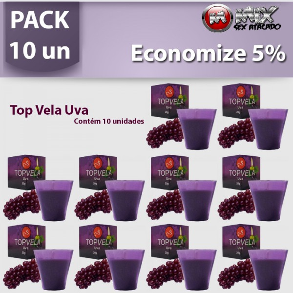 Pack 10 Top Vela Uva - Sexshop Atacado