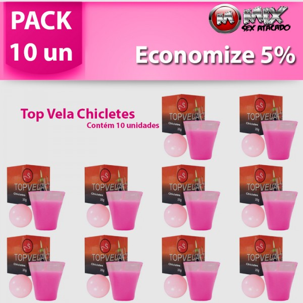 Pack 10 Top Vela Chicletes - Sexshop Atacado