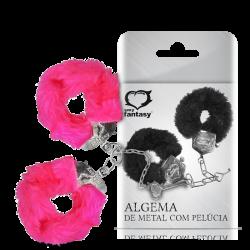 Algema de Metal com Pelúcia Rosa | 5002-14