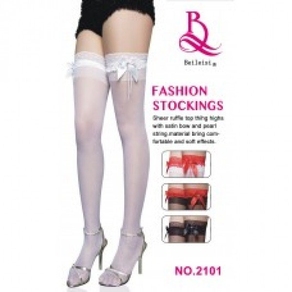 Meia 7/8 lisa com laço - FASHION STOCKINGS - Sexshop Atacado