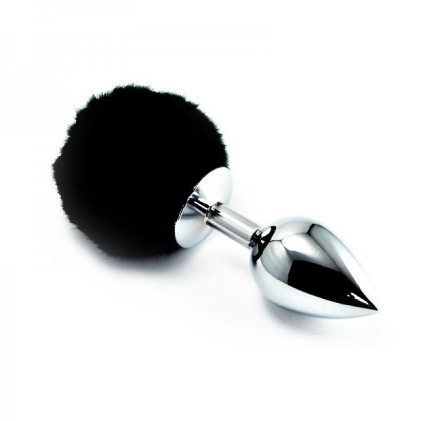 Plug anal em metal 9,5 cm com pompom colorido - Sexshop Atacado